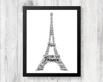 Personalised EIFFEL TOWER Word Art Print Gift Perfect for Engagements Birthdays Christmas Weddings Teachers Gifts France Romance PARIS