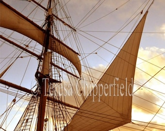 Sails In The Wind, Sail Boat,Yacht, Nautical Photography, Ship Photo Print, Sail Boat Wall Decor, 8x10,11x14,16x20, Ocean, Historical Travel