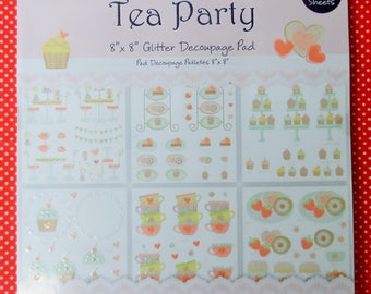 "Tea Party 8"" x 8"" Glitter Decoupage Pad 4 Sheets of 6 designs Acid free Die Cut for easy assembly"