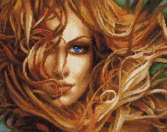 NEW UNOPENED Russian Counted Cross Stitch Kit Golden Fleece F-025 Girl. Wind in the hair
