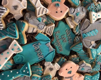 Little man babys shower or birthday sugar cookies for a tray