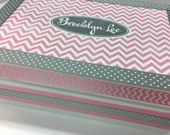 Girl's Personalized Keepsake Box- Pink and Gray Chevron and Polka Dot -Birthday, Christening, Baby Naming Adoption