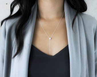 QUINSCO - [ M I A ] Necklace - Sterling Silver Chain Y-Lariat Necklace with Dainty Cubic Zirconia Pendant