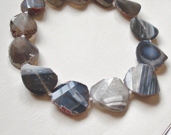 Designer Botswana Banded Agate Stepcut Faceted Nuggets Full Strand