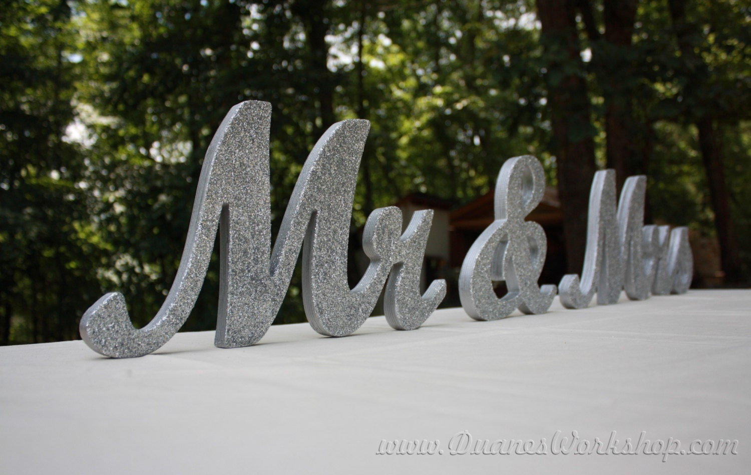 8 Wooden Mr and Mrs sign Gold and Silver Glitter