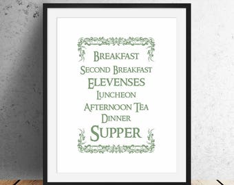 Lord of the Rings - Hobbit Meals   Printable Instant Download, The Shire, JRR Tolkien Quote, Pippin, Wall Art, Wall Decor, Home Decor, Print