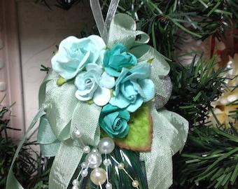 Aqua Glass Christmas Ornament