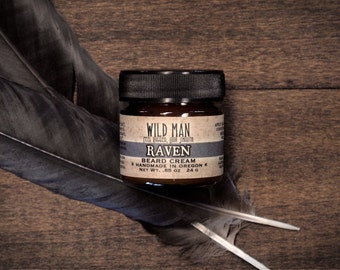 Beard Balm Cream - Wild Man - RAVEN -  24g // .85oz - Grooming Mens Gift