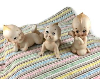 Vintage Kewpie Bisque Doll, Kewpie Piano Baby, Lefton Kewpie Doll, KW228, Vintage Piano Baby, Lefton Doll, Lefton Figurine, Vintage Doll