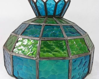 Amazing Vintage Tiffany Style Blue Green Stained Glass Lamp Shade Retro Swag