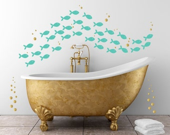 Fish Decals For Bathroom. Fish Wall Decals School Of Fish Decals Under The Sea Wall Decals Sea