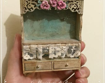 1/12 dollshouse decorated beige and sky blue wall hang shelf with drawers dollashouse miniatures hand made in wood by Bea