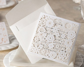 Charming Floral Pocket Laser Cut Invitation - DEPOSIT
