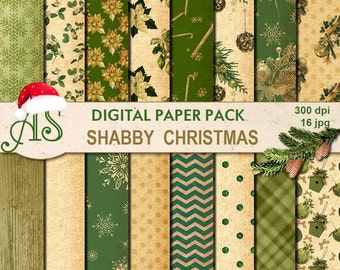 Digital Shabby Chic Christmas Pack, 16 printable Digital Scrapbooking papers, new year Digital Collage, decoupage, Instant Download, set 243