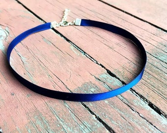 Navy Satin Choker