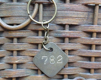 Vintage Brass Tag Industrial Number Tag Steampunk Number Key Chain #782