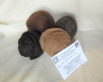 4 oz. Alpaca Roving - 100% Natural Black/Medium Brown/Medium Fawn & Medium Rose Grey Combo Pack For Spinning, Nuno Felting or Needlefelting