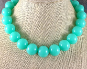 Statement Necklace, Mint, Mint Necklace, Big Necklace, Chunky Necklace, Blue, Beaded Necklace, Round Bead Necklace, Gumball Necklace