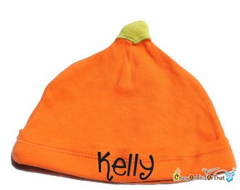 Personalized Orange Pumpkin Cap for Baby's First Halloween Costume