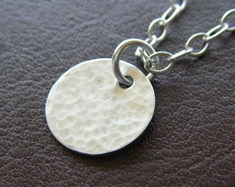Petite Silver Charm Necklace - Textured Round Sterling Silver Disc  - Everyday Circle Necklace with Optional Birthstone or Pearl