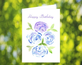 Bday Card Download: Watercolor Blue and Purple Peony Birthday Card - Digital Download - Peony Card Download - Blue Birthday Card