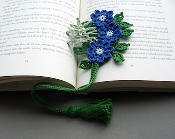 Crochet Bookmark — Blue Hepatica Flowers