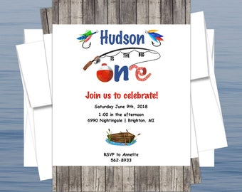 Fishing The Big ONE Birthday Party Invitation Customized for your Birthday Party *Printed OR Print Yourself*