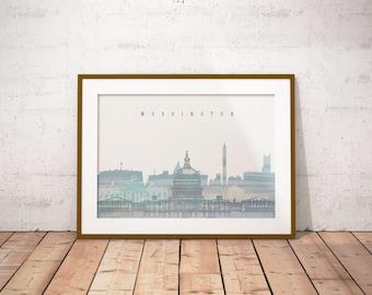 Washington Print, Skyline Art Print, Poster, Modern Wall Art, New Home, Housewarming Gift, Digital Download