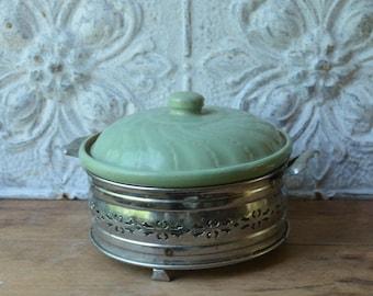 Vintage Green Stoneware Covered Casserole Dish