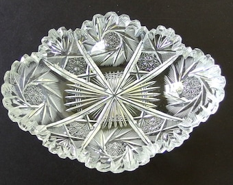 Vintage Cut Glass Oval Bowl, Pinwheels and Fans, Sawtooth Edge