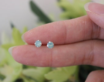 tiny blue opal stud earrings, light blue earrings, tiny stud earrings, simple stud earrings, children earrings, teeny tiny studs, toddler