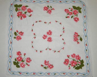 Vintage Floral Hankie,Handkerchief, Pink Flowers