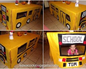 American School Bus Themed Playhouse Tablecloth