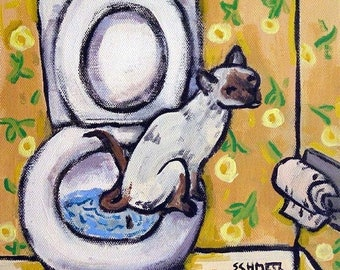 25% off cat tile - cat art - Siamese in the bathroom Cat Art Tile Coaster Gift, cat gifts, gift