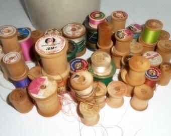 Wooden Spools, Vintage Spools, Assorted Size Spools, Large Lot of Wood Spools