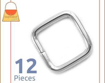 "1/2 Inch Rectangular Wire Loops, Nickel / Silver Finish, 12 Pack, Rectangle / Square Ring, Purse Handbag Hardware, .5"", .5 Inch, RNG-AA165"