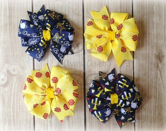 Beauty and the Beast Bows Belle Bow Inspired Themed Pinwheel Bow Clip Set of 4 bows