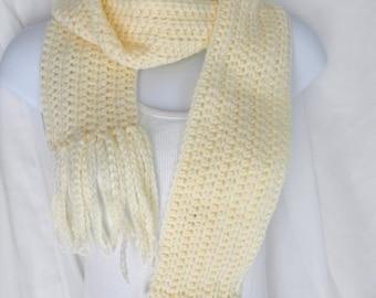 Ladies Warm Winter Crochet Fringed Scarf - Yellow
