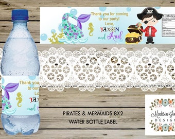 "Pirates & Mermaids 8""x2"" Birthday WATER BOTTLE Labels, Mermaid and Pirate Birthday Party Favors, 8""x2"" Pirates/Mermaids Water Bottle Labels"