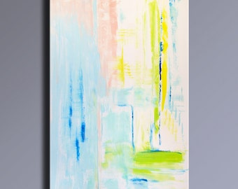 "48"" Large ORIGINAL ABSTRACT Rosa White Blue Yellow Green Painting on Canvas Contemporary Abstract Modern Art wall decor #APL01"