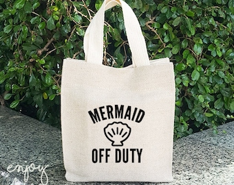 Mermaid Off Duty Sackcloth bag, Vintage bag, Shopping Bag, Flax Screen Sackcloth bag, Party Bags,  Gift Bag,Personalized, Project bag