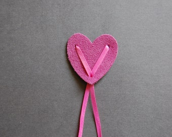 Suede Heart Bow