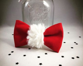 Bow tie of Christmas red and white fur