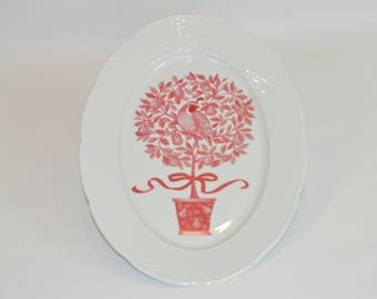 """Lauren White 14"""" Platter (shown with image #x83 - Red Partridge in a Pear Tree)"""