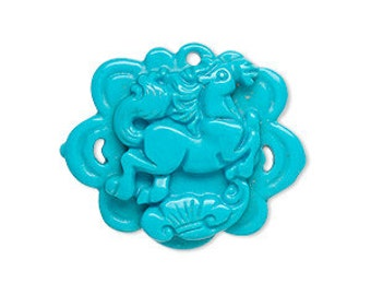 Magnesite Pendant 29x24mm Flower Carved Horse Natural Gemstone Beads Turquoise Blue