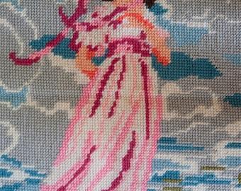 Needlepoint, Finished Needlepoint, Girl in Pink Needlepoint