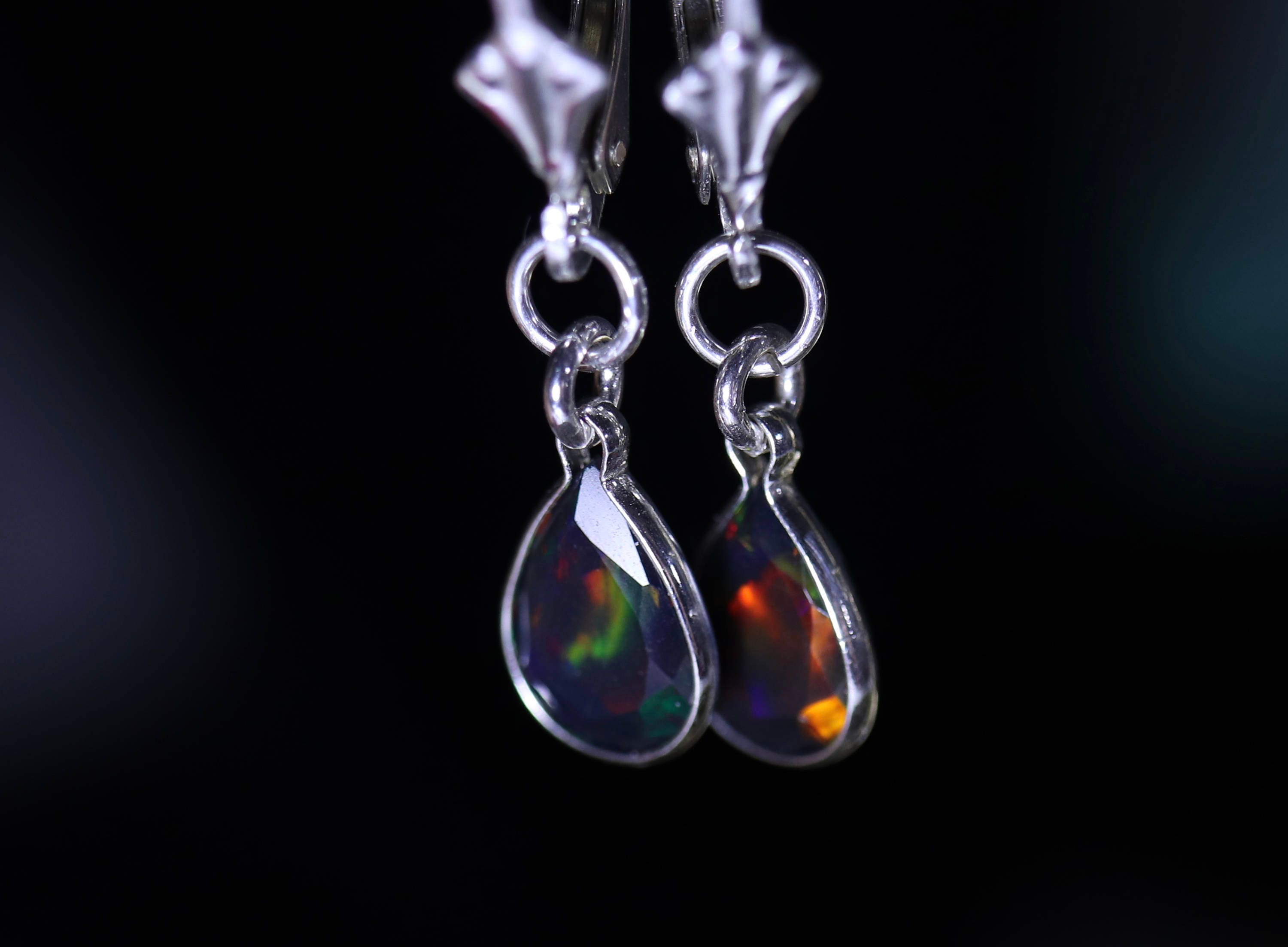 real genuine australian earrings gold flashopal opal upside drop jewelry down dangler short tear