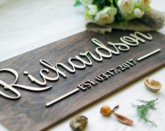 Last Name Established Sign, Wedding gift last name, Established wood sign, Family Name Established Sign, Wall decor Home established #2