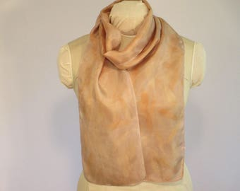 "Eco Fashion - Natural Dye Silk Scarf - Willow Ecoprint - HA8111715  - 8""x70"" (20 x 177cm)"