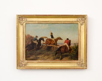Antique Original Signed Gold Leaf Framed Oil Painting of Equestrian Scene - 1800's